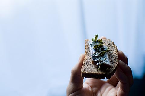 ライ麦パンに、ニシンの酢漬けをのせて