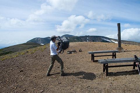 北海岳山頂でセルフ。